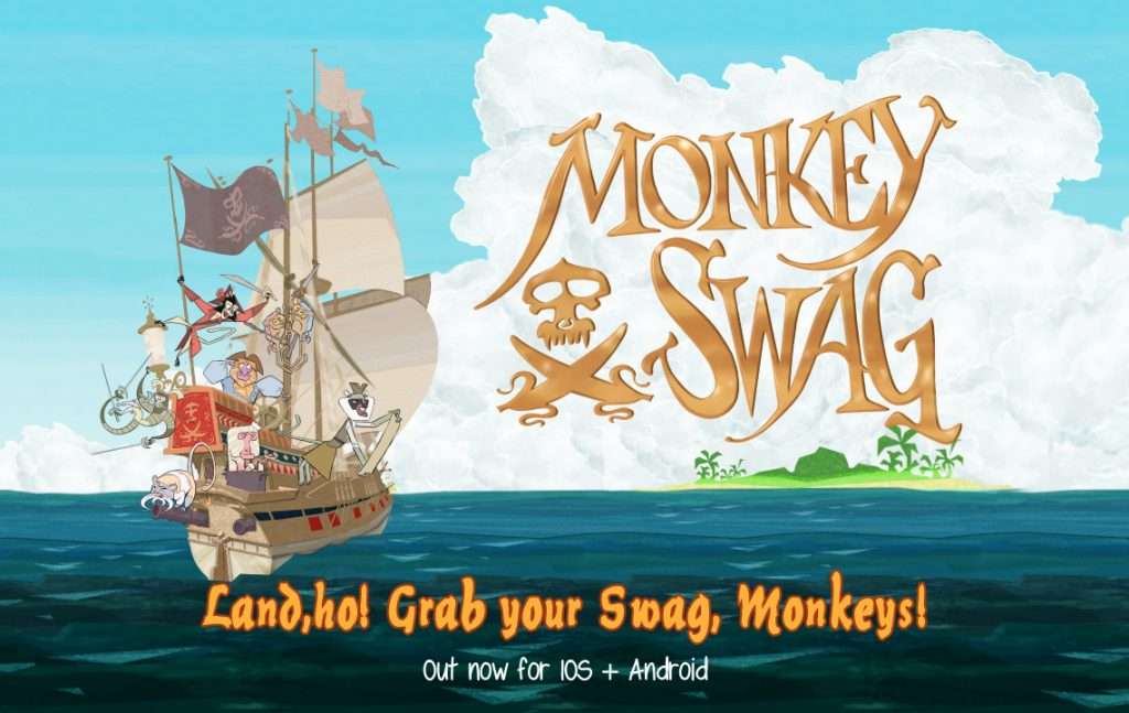 Title screen of the game Monkey Swag, showing the ship Flying Banana and the crew of pirate monkeys