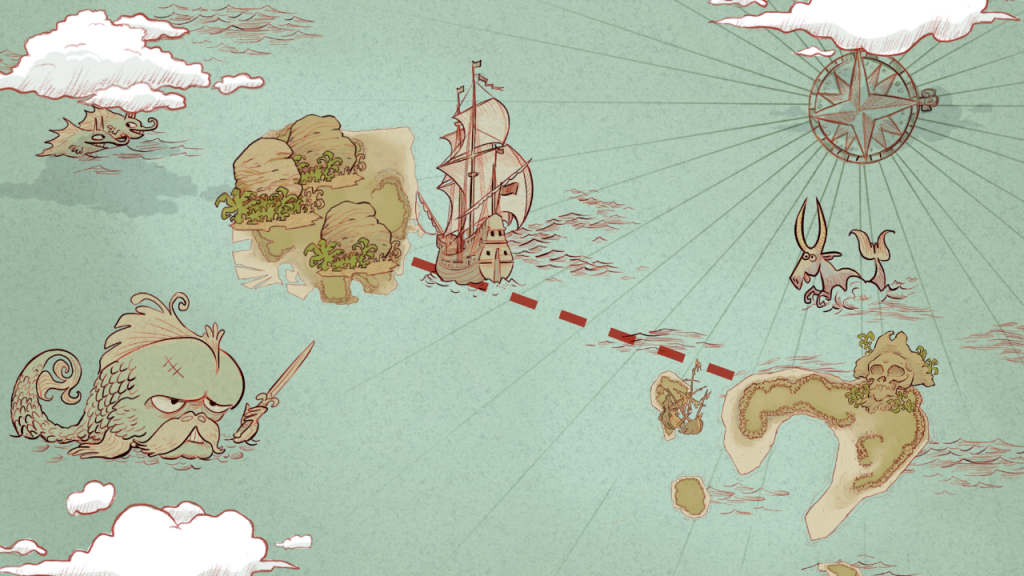 Screenshot of the game Monkey Swag,  showing the sea map and islands