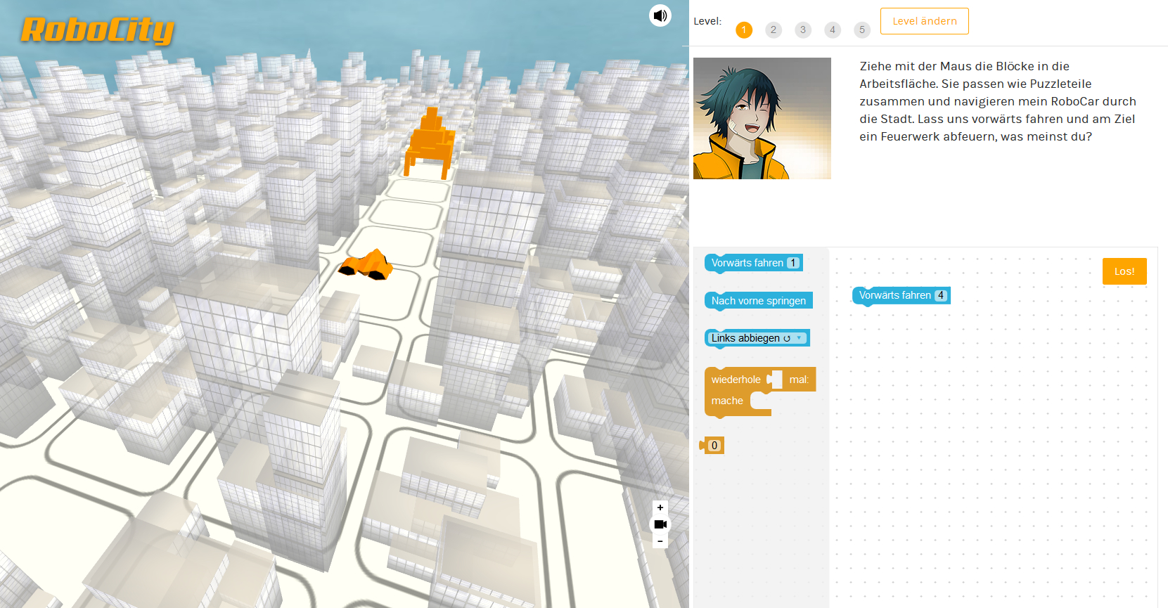 Screenshot of the game Robo City, showing the game and coding puzzle blocks