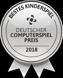 Badge showing that Monkey Swag won the german computer game award 2018 as best kids game