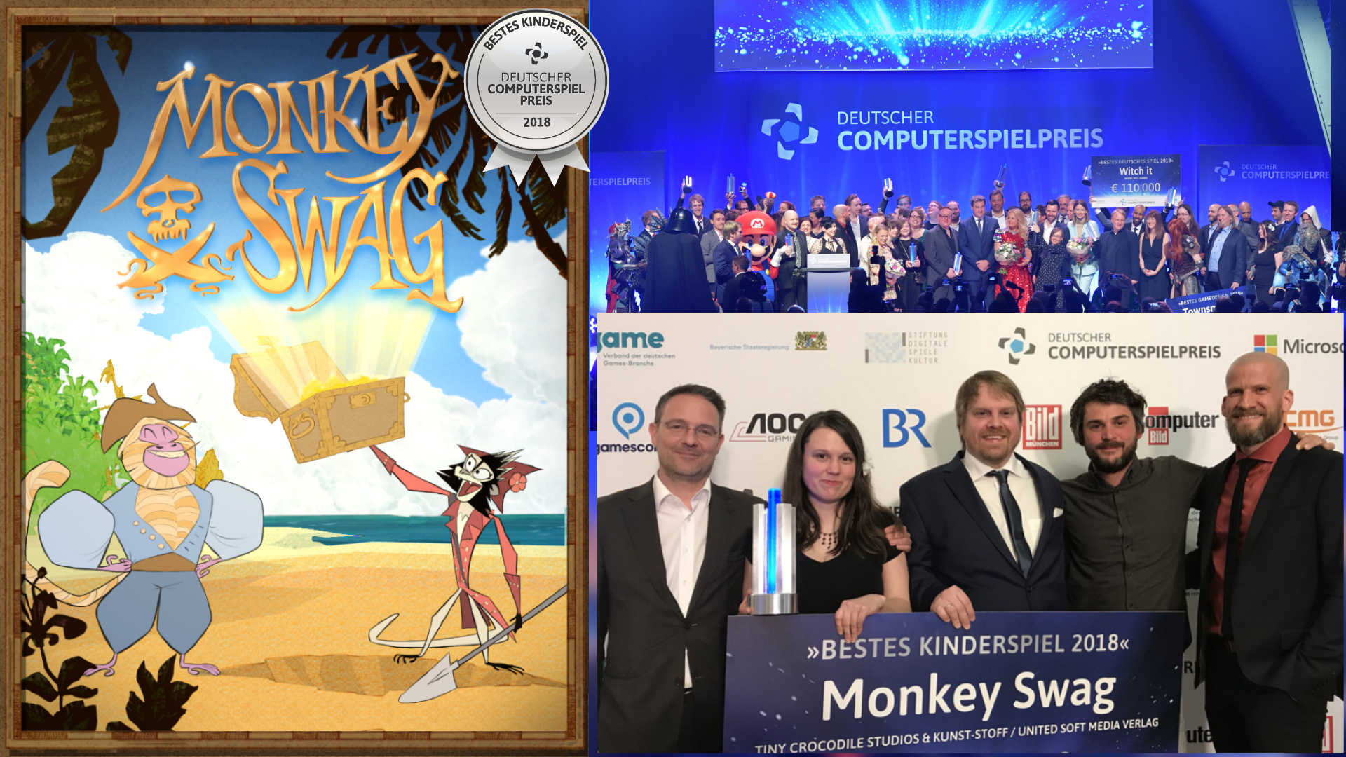Packshot of the game Monkey Swag and a photograph of the team winnind the german computer game award for best kids game