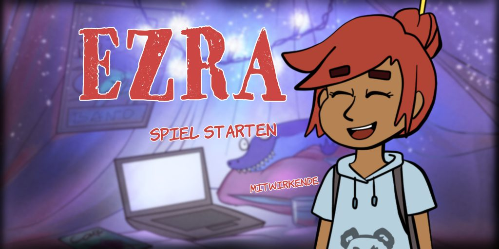 """Title Screen of the game prototype """"Ezra"""" showing a happy girl in the front and her cozy tent in the back."""