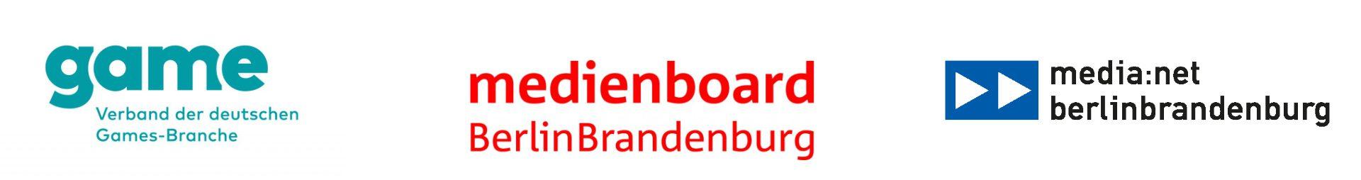 Logos of Game Verband, Medienboard Berlin-Brandenburg and media net Berlin-Brandenburg