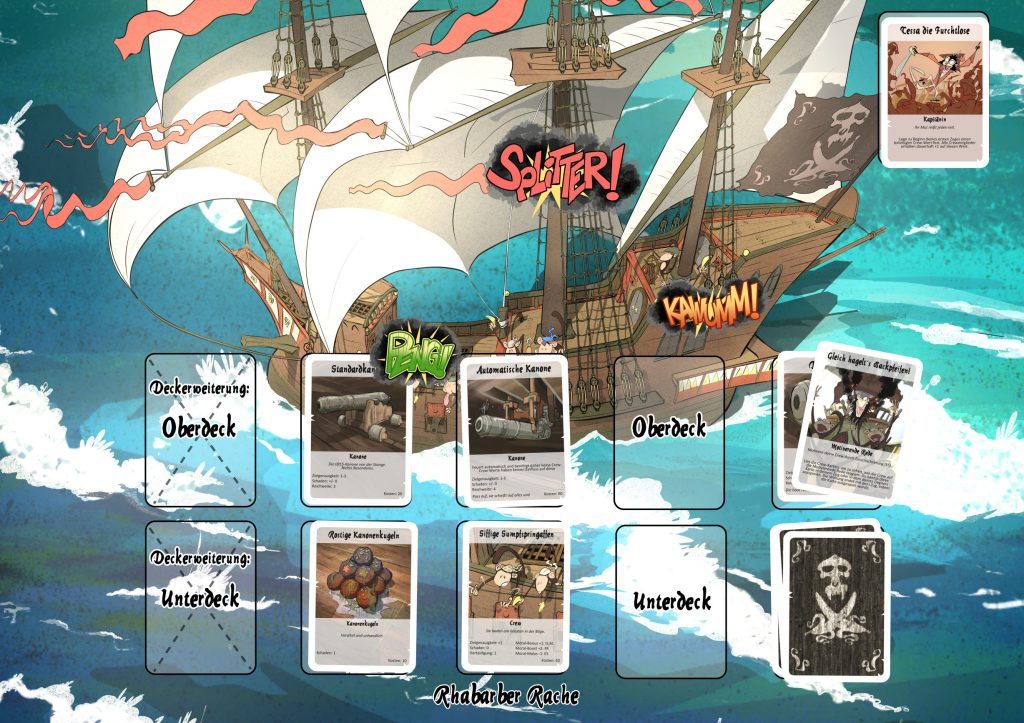 Photograph of the card game mat of the card prototype Monkey Strike