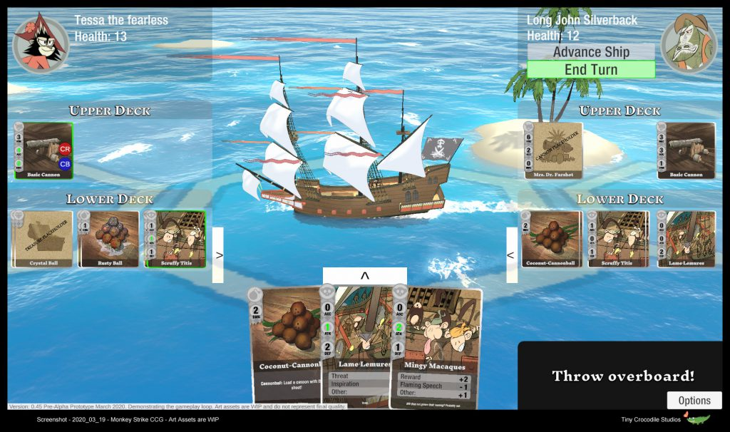 Screenshot of the game prototype Monkey Strike, showing two ships on the playing field, and player cards