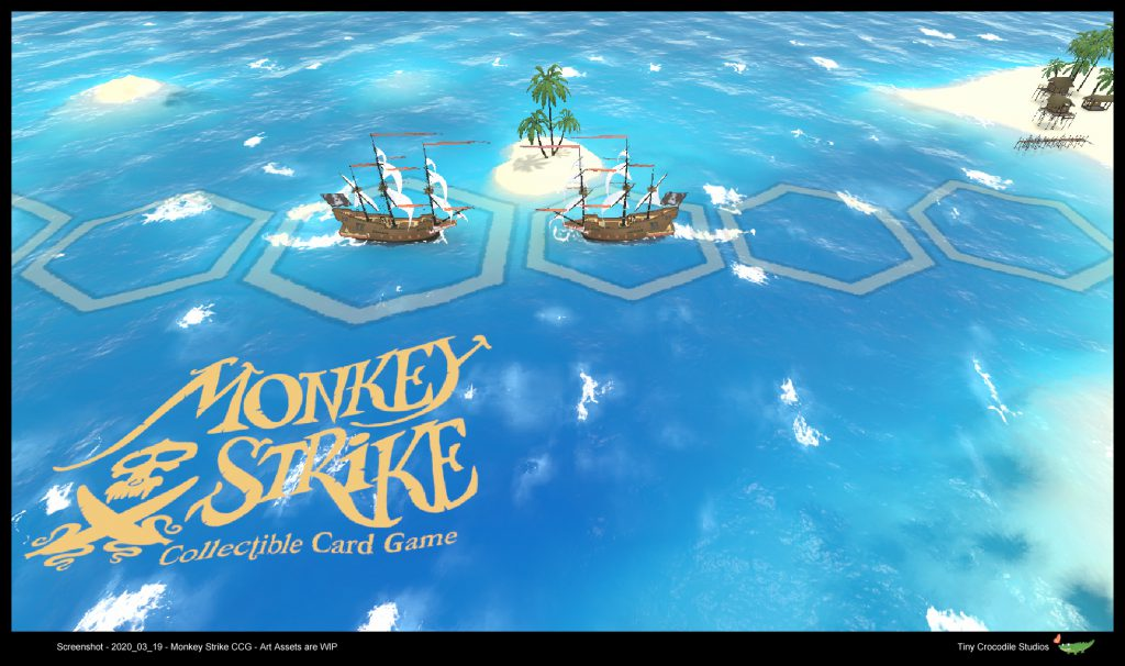 Screenshot of the game prototype Monkey Strike, showing two ships on the playing field