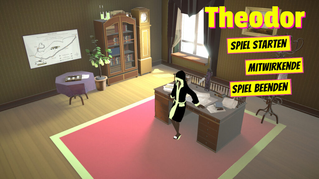 """Title Screen of the game """"Theodor"""" showing a vintage study and a young person leaning against a desk."""