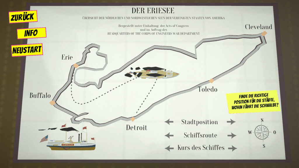 """A screenshot of the game """"Theodor"""" showing a map of lake Erie on which the player has to solve a puzzle."""