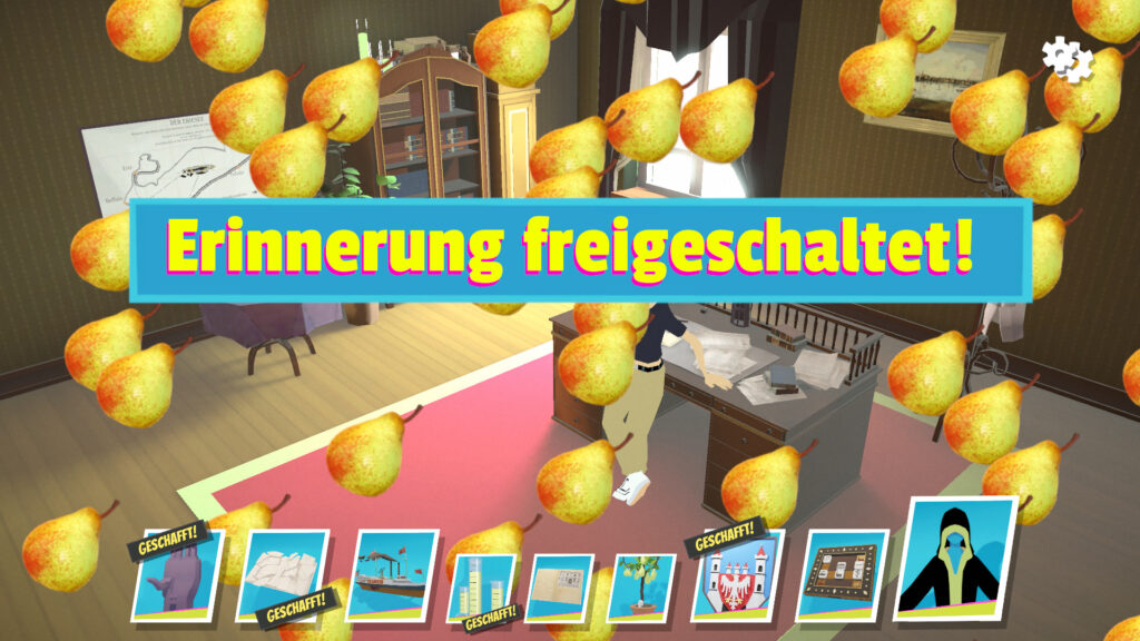 """A screenshot of the game """"Theodor"""" showing a """"you made it"""" message and pears raining from the top of the screen."""