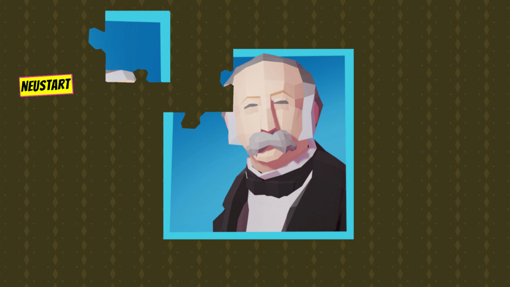 """A screenshot of the game """"Theodor"""" showing a jigsaw puzzle with Theodor Fontane's portrait."""