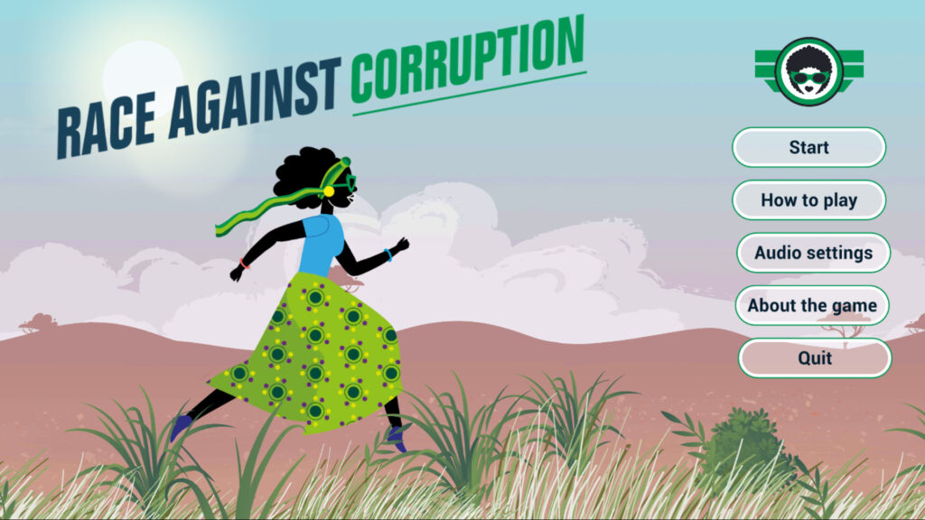 """Title Screen for the Game """"Race Against Corruption"""" showing an woman from Zambia, running on her mission to fight corruption!"""