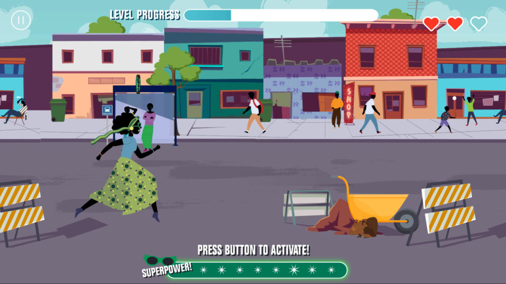 """A scene from the game """"Race Against Corruption"""" showing a woman from Zambia running and jumping through an urban scene. Hidden in the scene is a corrupt chameleon."""
