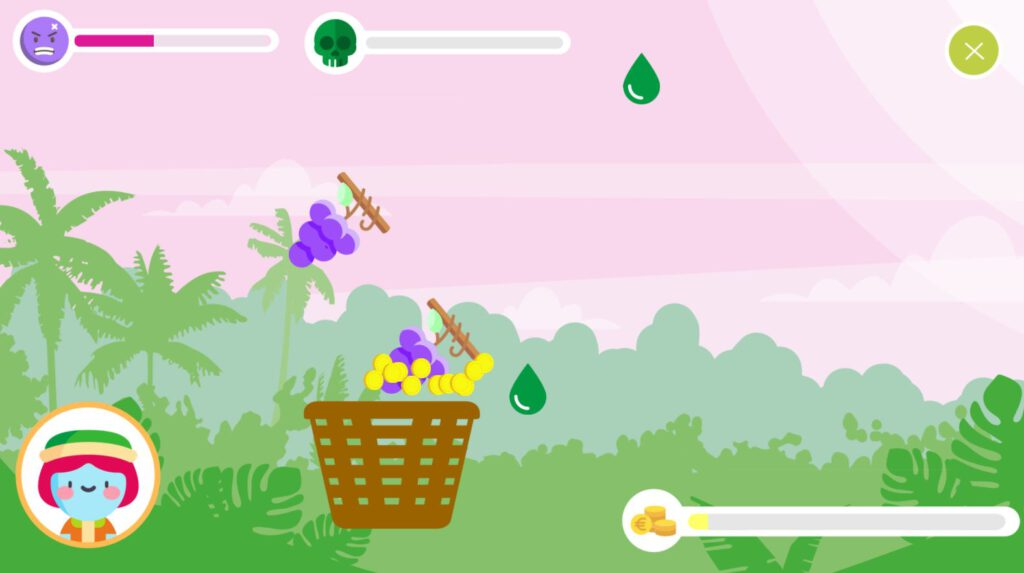 """Screenshot from the game """"Fruiturama"""" showing fruits and pesticide drops falling from the top of the screen into a basket."""