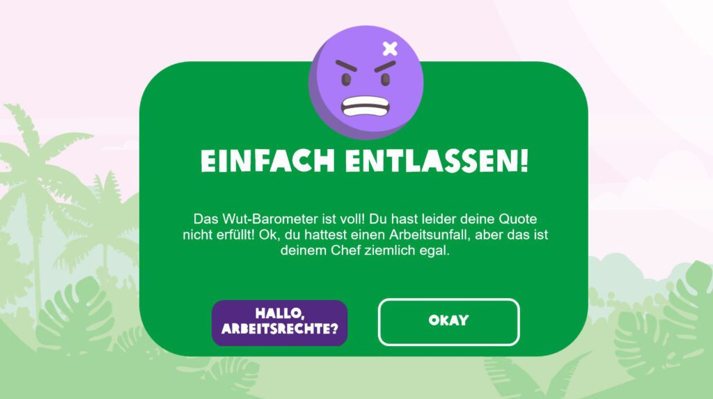 """Screenshot from the game """"Fruiturama"""" showing a pop up claiming that you got fired because of a work accident and the resulting loss of performance."""