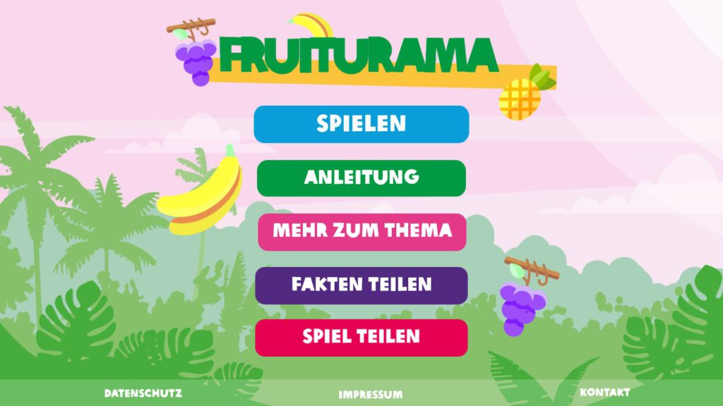 """Title screen for the game """"Fruiturama"""", showing fruits and menu buttons."""